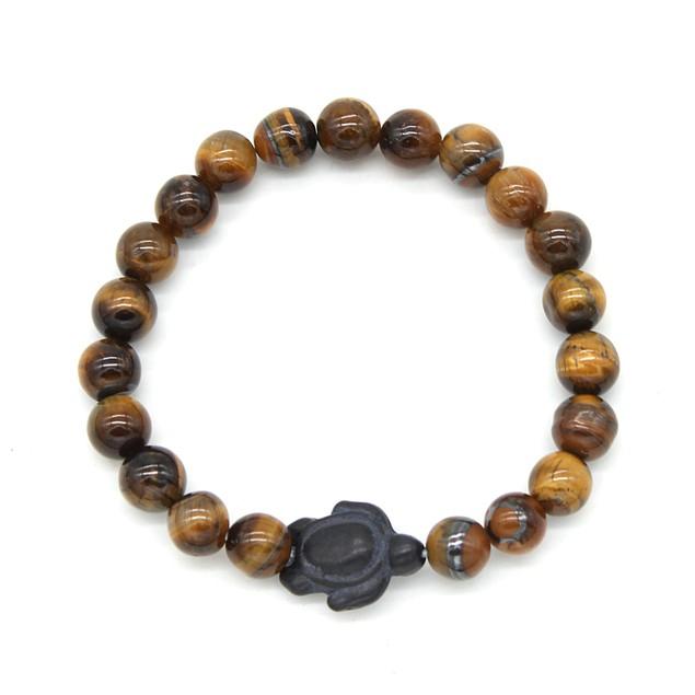 Genuine Tiger Eye Turtle Ball Bead Bracelet