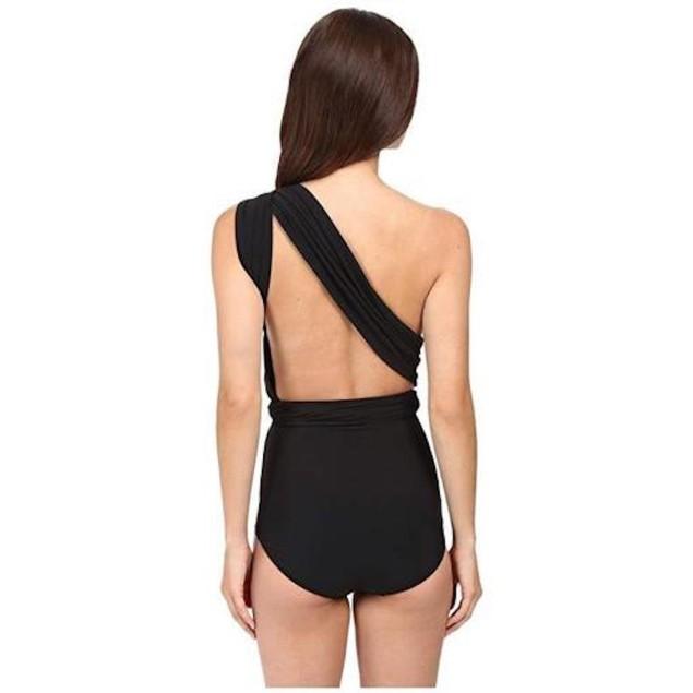 Michael Kors Women's One-Shoulder Shirred Maillot, Black, 8