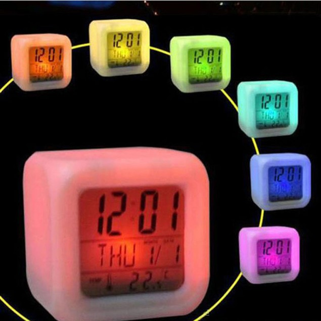 Glowing LED Multifunction Cube Alarm Clock