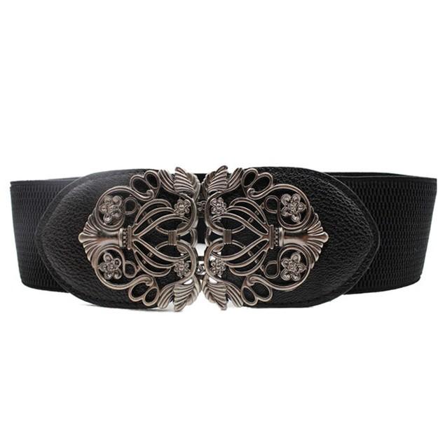Fashion Alloy Flower Vintage Women Leather Belt Belt Straps