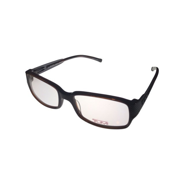 Tumi Ophthalmic Mens Eyeglass Frame Soft Rectangle Brown Plastic T303
