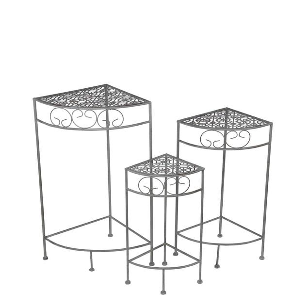 3 Piece Black Metal Nesting Corner Plant Stand Set Plant Stands