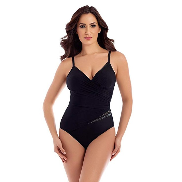 Miraclesuit Women's Sparkle Plenty Hidden Treasures One-Piece Black 16
