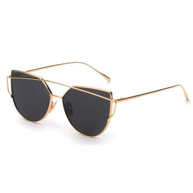 Twin-Beams Classic Women Metal Frame Mirror Sunglasses Cat Eye Glasses