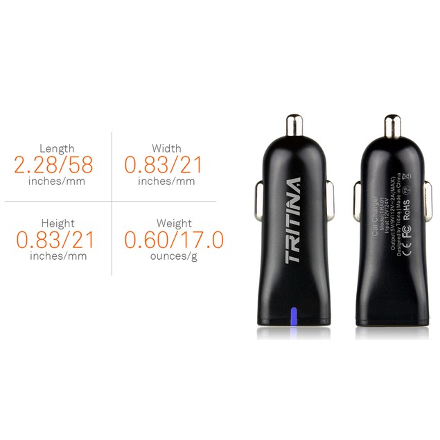 Tritina Quick Charge Car Charger USB Port Anti-fire Shell for cellPhone