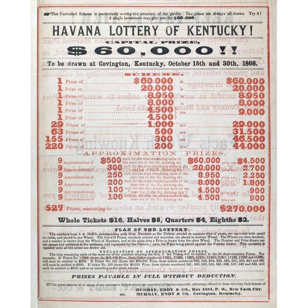 Kentucky Lotteries, 1866. /Nannouncement From The Kentucky State Lotteries