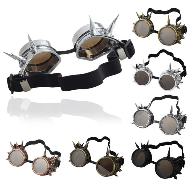 Rivet Steampunk Windproof Mirror Vintage Gothic Lenses Goggles Glasses