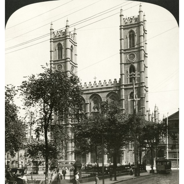 Montreal: Notre Dame, 1908. /Nnotre Dame Basilica In Montreal, Canada. Ster