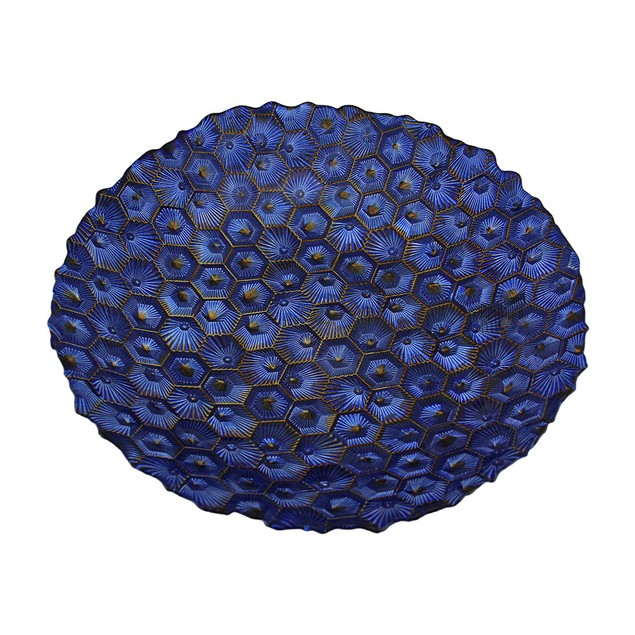 Electric Blue Metallic Foil Finish Round Dimpled Decorative Platters