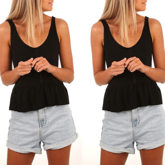 Womens V-Neck Vest Camisole Sleeveless T-Shirt Hollow Out Tank Tops