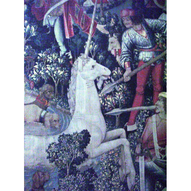 The Unicorn Tapestries Room: The Unicorn is Attacked (detail). Poster