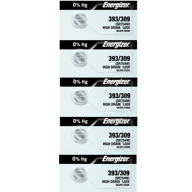 Energizer 393/309 (SR754/W/SW) Silver Oxide Watch Batteries (5 Pack)
