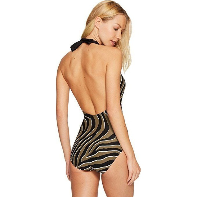 MICHAEL Michael Kors Women's Quincy Zebra Halter One-Piece SZ: 10
