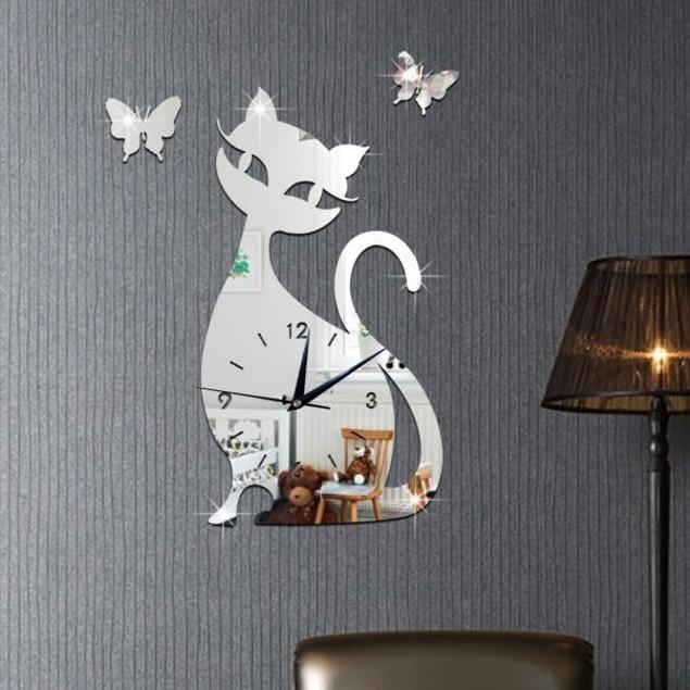 Cute Cat & Butterfly Mirror Wall Clock Sticker