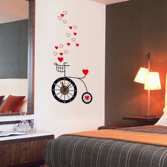 Removable Love Cycling living clock DIY stickers Decal