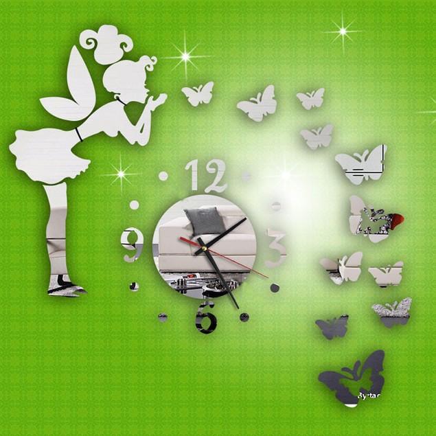 Modern Style Butterfly Fairy DIY Mirror Wall Clock Wall Sticker