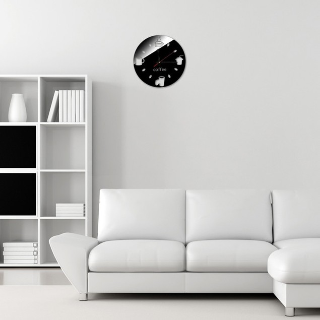 Fashion Design Disc Cup DIY Mirror Wall Clock Wall Sticker