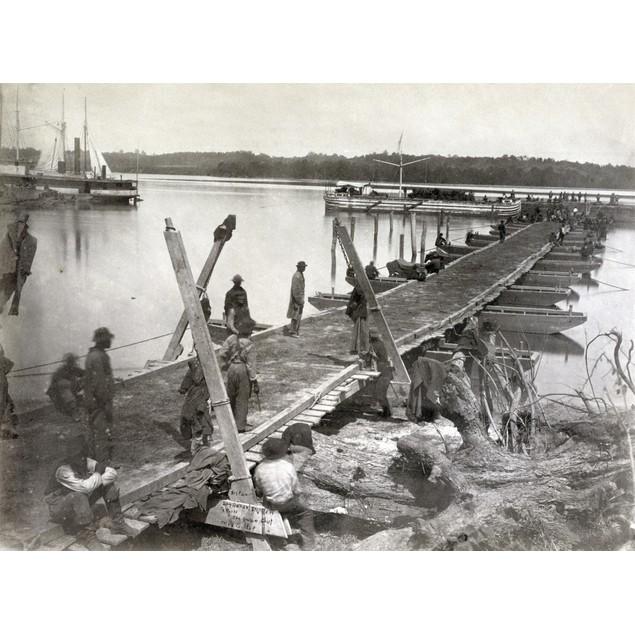 Pontoon Bridge, 1864. /Npontoon Bridge Being Built By The United States Mil