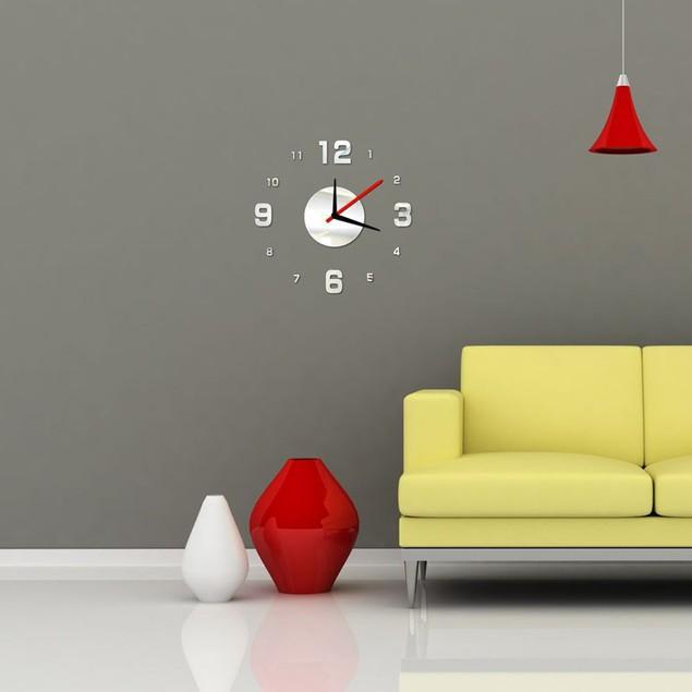 Modern DIY Wall Clock 3D Mirror Surface Sticker Home Office Decor