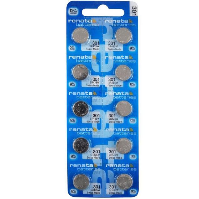 Renata 301 (SR43SW) Silver Oxide Watch Batteries (10 Pack)