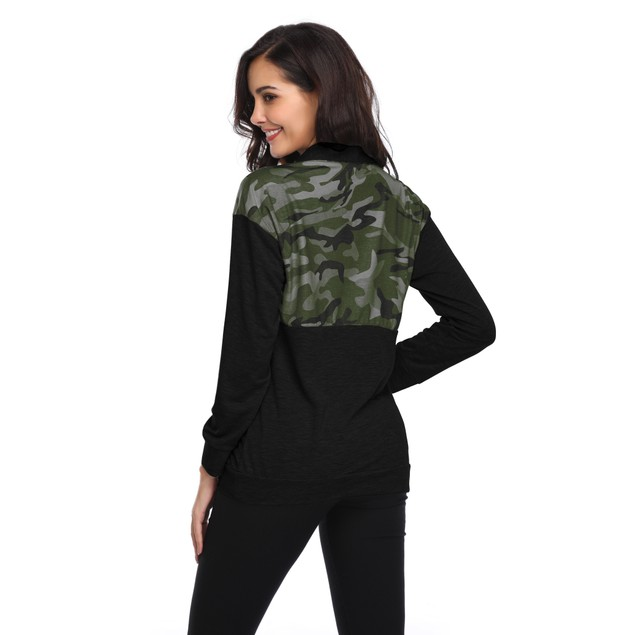 Long Sleeve Camouflage Print Zip Up Top