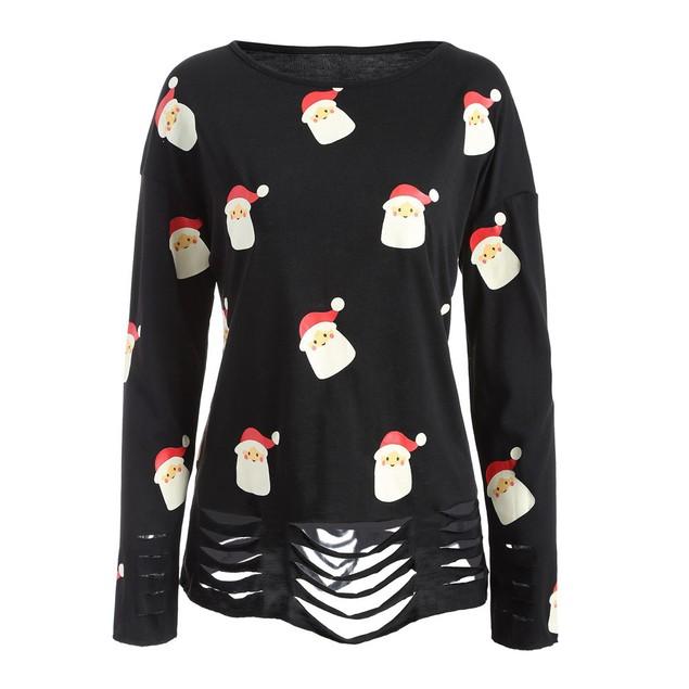 Women Long Sleeve Santa Claus Print Round Neck Hedging Blouse T-shirt
