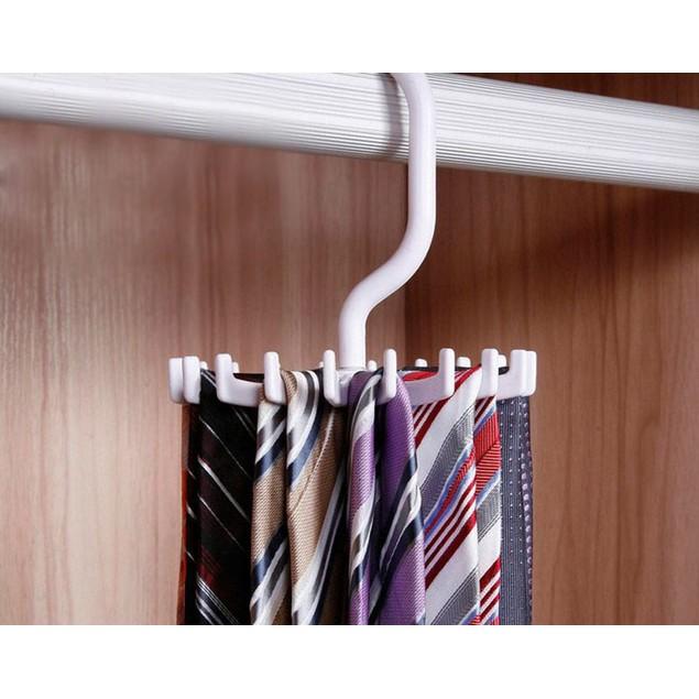 Rotating 20 Hooks Belt Scarves Men Neck Tie Holder Rack Hanger Organizer