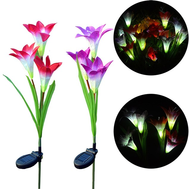 3 heads solar lantern LED decorative outdoor lawn lamp 3 flower lily lamp