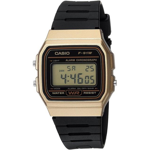 Casio Men's Digital Quartz Gold Tone Stainless Steel Black Resin