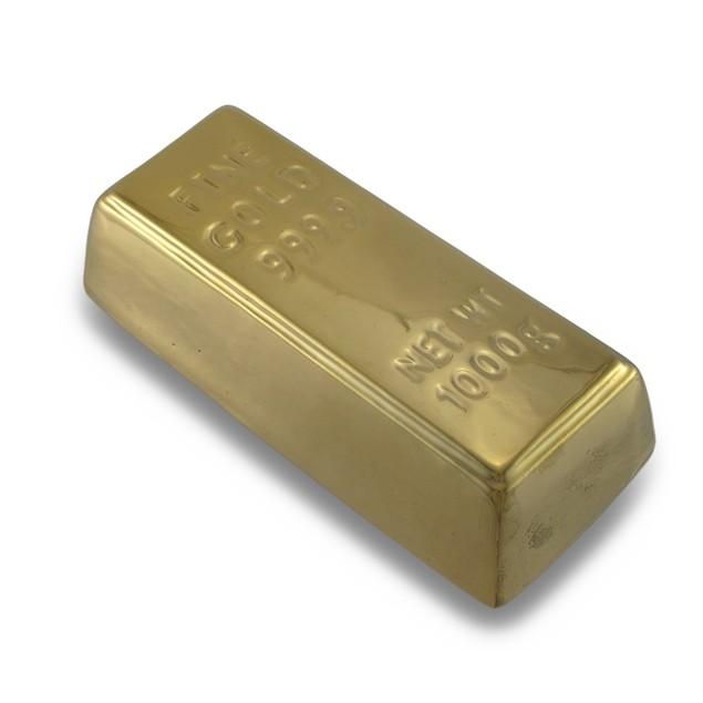 Ceramic Gold Bar Money Bank Metallic Finish Toy Banks