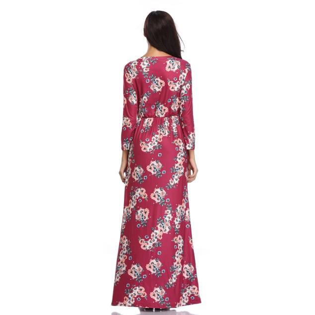 Long Sleeve Vibrant Maxi Dress