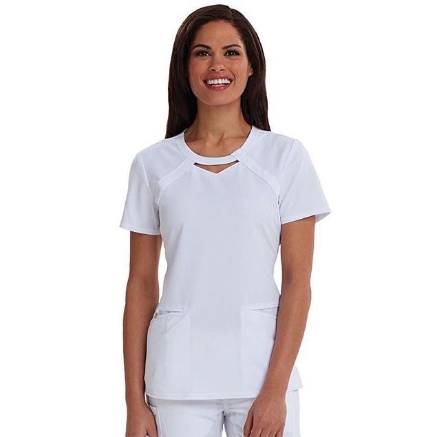 Careisma Women's Round Neck Solid Scrub Top, White, SZ X-Large