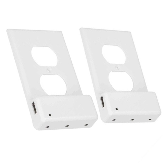 2-Pack Outlet Cover with USB Port and Built-In LED Light