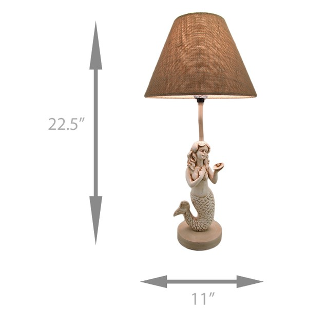 22 In. Beige Antique Stone Finish Mermaid Table Table Lamps
