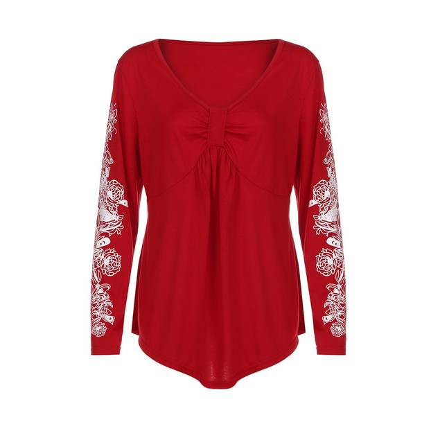 Plus Size Summer Lady Flowers Women Long Sleeve T-shirt Casual Top Blouse
