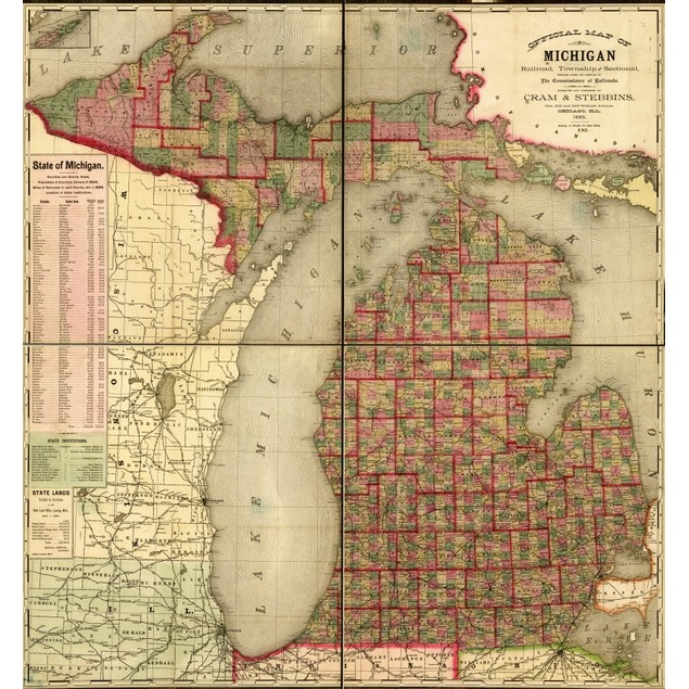 state map including drainage, cities and towns, and the railroad network. C