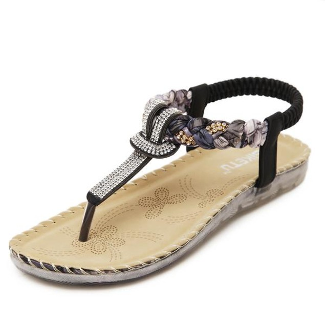 Comfy sandals - Weave Style Rhinestone Sandals