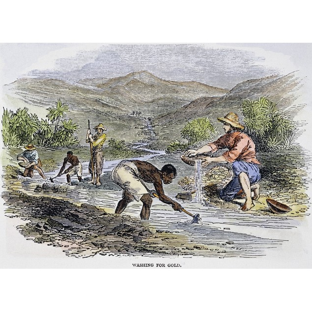 Washing For Gold, 1849. /Nwashing For Gold In California. Color Engraving,