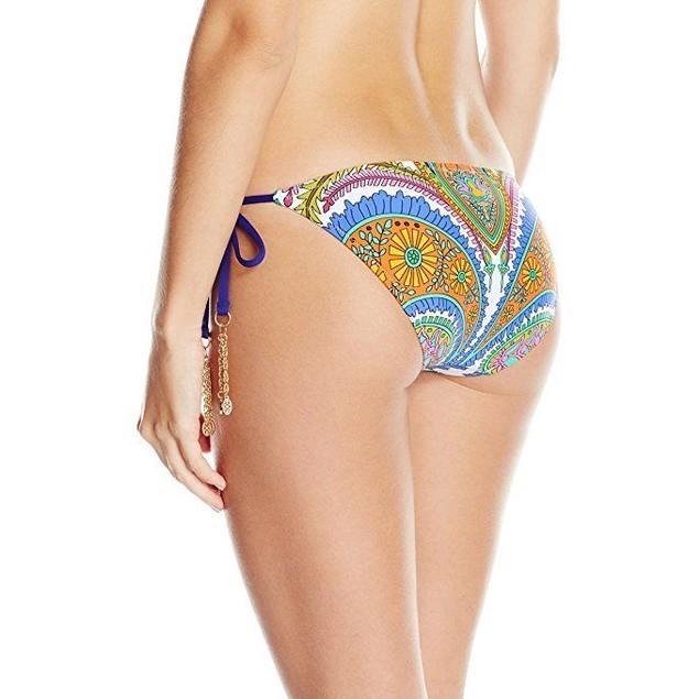 Trina Turk Women's Pacific Paisley Tie Side Hipster Bikini Bottom Sz: