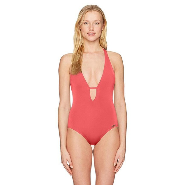 Vince Camuto Women's V-Neck Plunging One Piece Swimsuit, Riviera Papay