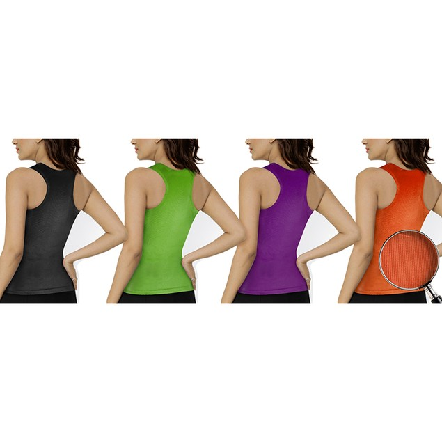 12-Pack Women's Ribbed 100% Cotton Racerback Tank Tops - Assorted Colors