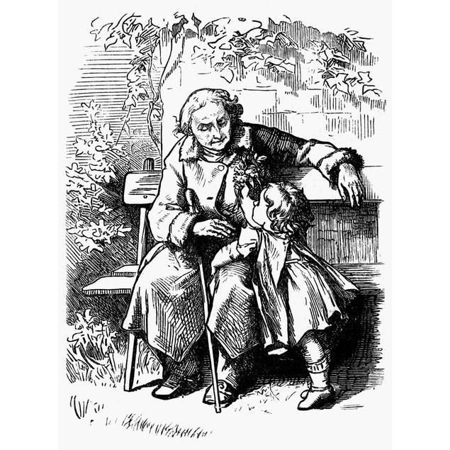 Grandfather, 1873. /Nan Old Blind Man And His Granddaughter. Wood Engraving