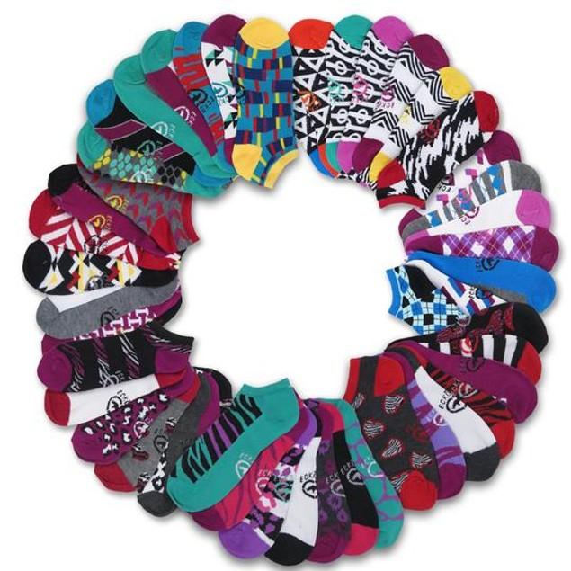 21 Pairs: Ecko Red Women's Fun Print No-Show Socks