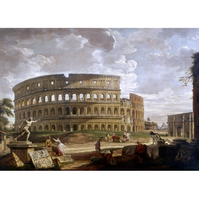 Pannini: Colosseum. /Nthe Colosseum And The Arch Of Constantine In Rome. Oi