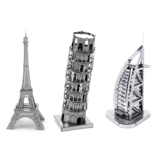 3-Pack Laser Cut 3D Models : Eiffel, Tower Of Pisa, Burj Al Arab