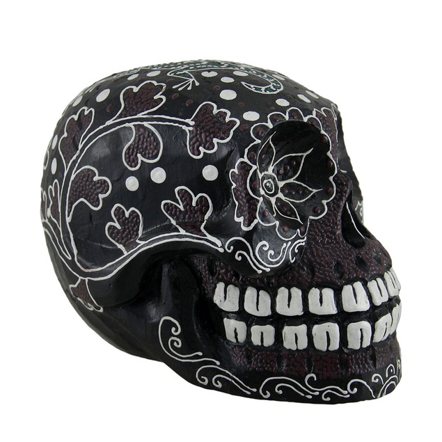 Dot Painted Decorated Wooden Sugar Skull Statue Statues