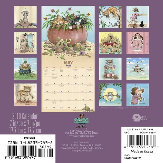 Gary Patterson's Cats Mini Wall Calendar, Funny Cats by Calendars