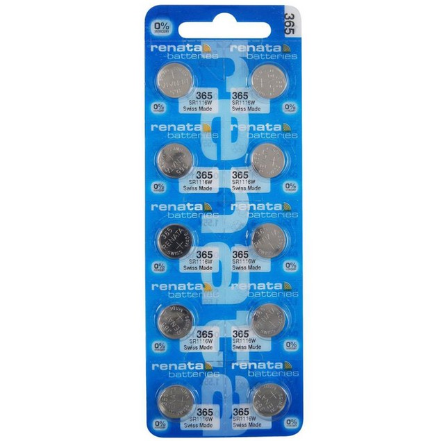 Renata 365 (SR1116SW) Silver Oxide Watch Batteries (10 Pack)