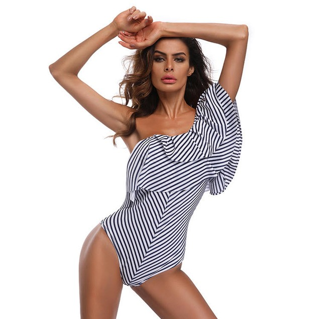 Striped One shoulder Swimsuit