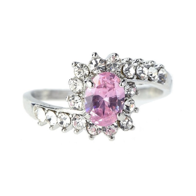 2.50 CTW Pink Sapphire Simulated Crystal Ring